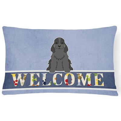 Reynoldsville Cocker Spaniel Welcome Lumbar Pillow Pillow Cover Color: Black