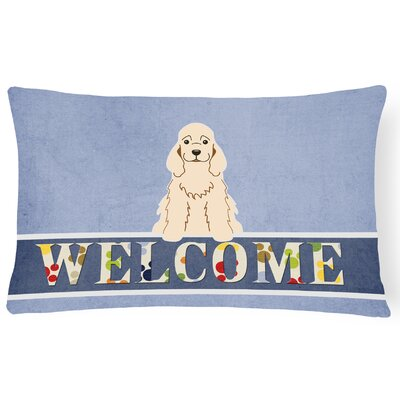 Reynoldsville Cocker Spaniel Welcome Lumbar Pillow Pillow Cover Color: Buff