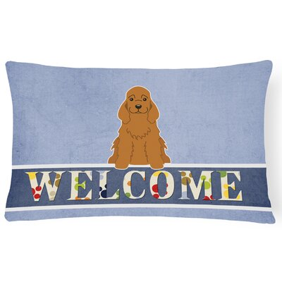 Reynoldsville Cocker Spaniel Welcome Lumbar Pillow Pillow Cover Color: Brown