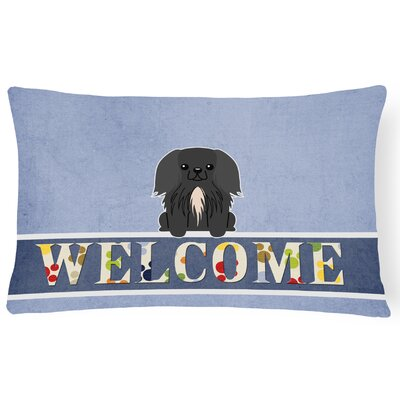 Ridgefield Pekingnese Welcome Lumbar Pillow Pillow Cover Color: Black
