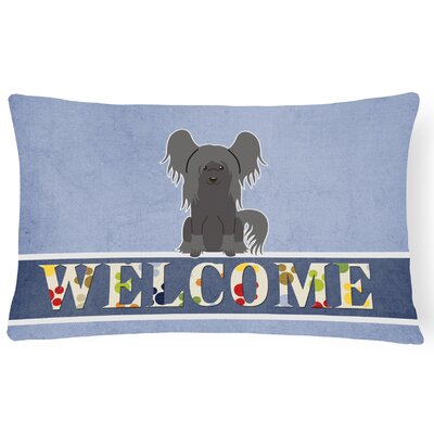 Rockhill Chinese Crested Welcome Lumbar Pillow Pillow Cover Color: Gray