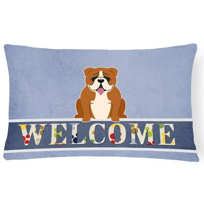 Rollins English Bulldog Welcome Lumbar Pillow