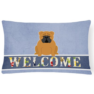 Rossiter English Bulldog Fawn Welcome Lumbar Pillow Pillow Cover Color: Brown