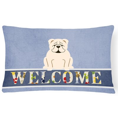 Rossiter English Bulldog Fawn Welcome Lumbar Pillow Pillow Cover Color: White