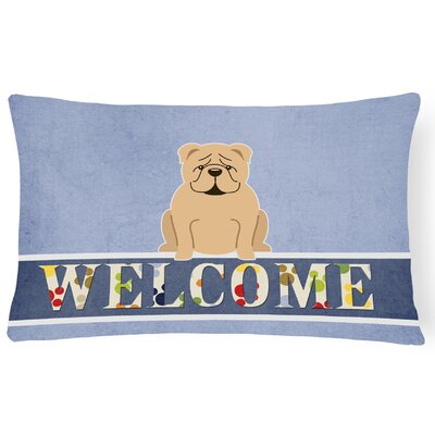 Rossiter English Bulldog Fawn Welcome Lumbar Pillow Pillow Cover Color: Fawn