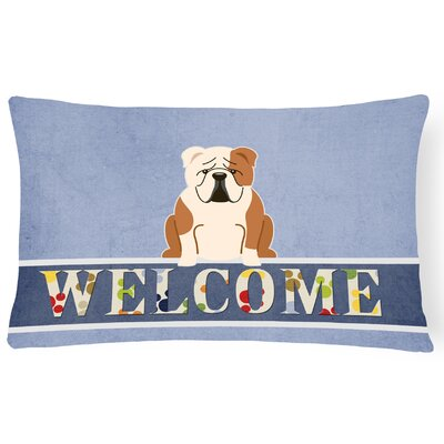 Rossiter English Bulldog Fawn Welcome Lumbar Pillow Pillow Cover Color: Fawn/White