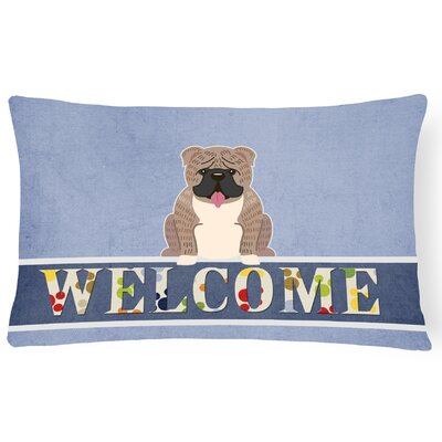 Rothsville English Bulldog Brindle Welcome Lumbar Pillow