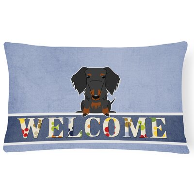 Blackwelder Wire Haired Dachshund Welcome Lumbar Pillow Pillow Cover Color: Black/Tan