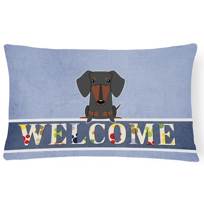 Rouseville Dachshund Welcome Lumbar Pillow Pillow Cover Color: Black/Tan