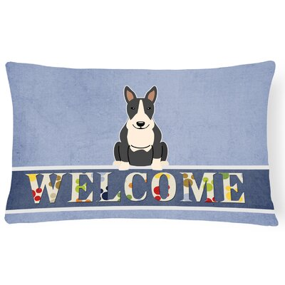 Rowes Bull Terrier Welcome Lumbar Pillow Pillow Cover Color: Black