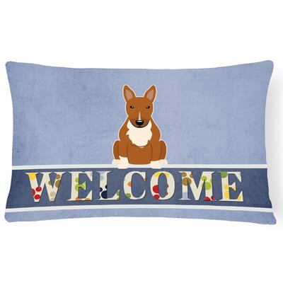 Rowes Bull Terrier Welcome Lumbar Pillow Pillow Cover Color: Brown