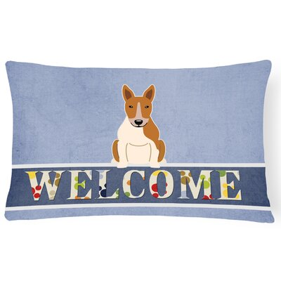 Rowes Bull Terrier Welcome Lumbar Pillow Pillow Cover Color: Brown/White