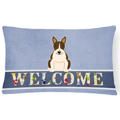Rowes Bull Terrier Welcome Lumbar Pillow Pillow Cover Color: Dark Brindle