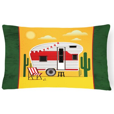 Greatest Adventure Retro Camper Desert Lumbar Pillow