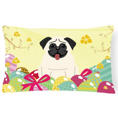 Easter Eggs Rectangular Pug Lumbar Pillow Pillow Cover Color: Cream