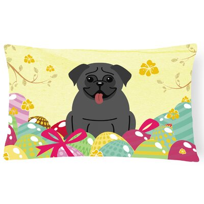 Easter Eggs Rectangular Pug Lumbar Pillow Pillow Cover Color: Black
