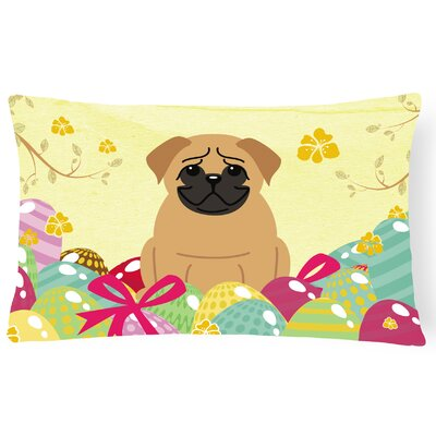 Easter Eggs Pug Lumbar Pillow Pillow Cover Color: Brown