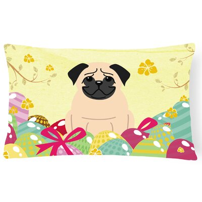 Easter Eggs Pug Lumbar Pillow Pillow Cover Color: Fawn