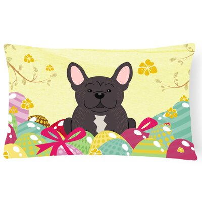 Easter Eggs French Bulldog Rectangular Lumbar Pillow