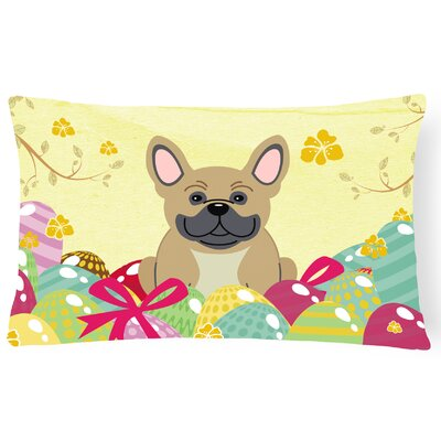 Easter Eggs French Bulldog Lumbar Pillow Pillow Cover Color: Cream