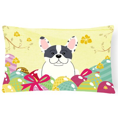 Easter Eggs French Bulldog Lumbar Pillow Pillow Cover Color: Piebald
