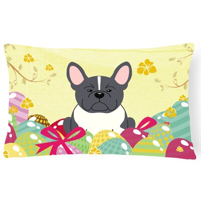 Easter Eggs French Bulldog Lumbar Pillow Pillow Cover Color: Black/White