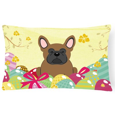 Easter Eggs French Bulldog Lumbar Pillow Pillow Cover Color: Brown