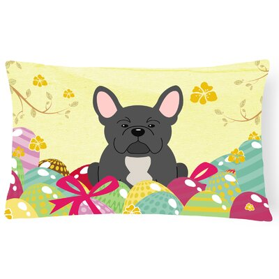 Easter Eggs French Bulldog Lumbar Pillow Pillow Cover Color: Black