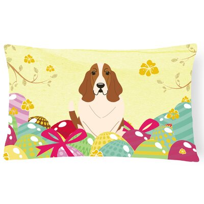 Easter Eggs Basset Hound Lumbar Pillow