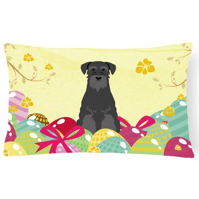Easter Eggs Standard Schnauzer Lumbar Pillow Pillow Cover Color: Black