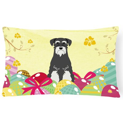 Easter Eggs Standard Schnauzer Lumbar Pillow Pillow Cover Color: Black/White