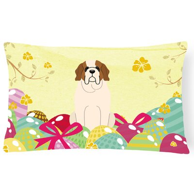 Easter Eggs Saint Bernard Lumbar Pillow