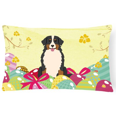 Easter Eggs Bernese Mountain Dog Lumbar Pillow
