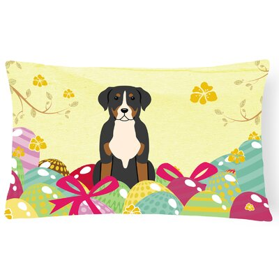 Easter Eggs Greater Swiss Mountain Dog Lumbar Pillow
