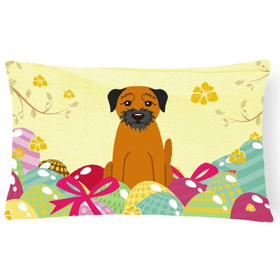 Easter Eggs Border Terrier Lumbar Pillow