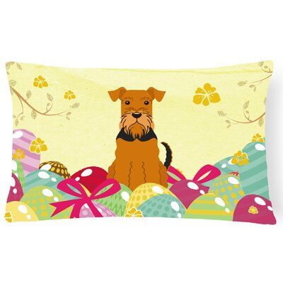 Easter Eggs Airedale Lumbar Pillow