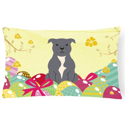 Easter Eggs Staffordshire Bull Terrier Lumbar Pillow Pillow Cover Color: Blue