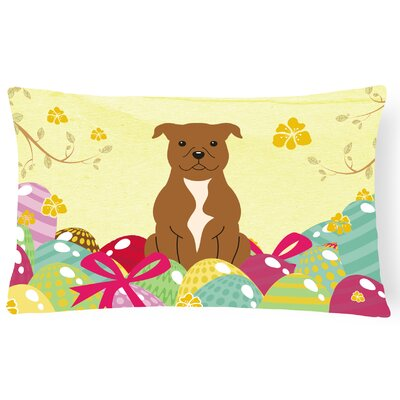Easter Eggs Staffordshire Bull Terrier Lumbar Pillow Pillow Cover Color: Brown