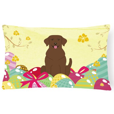 Easter Eggs Labrador Outdoor Lumbar Pillow
