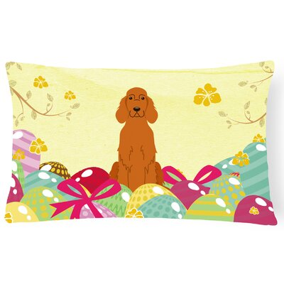 Easter Eggs Irish Setter Lumbar Pillow