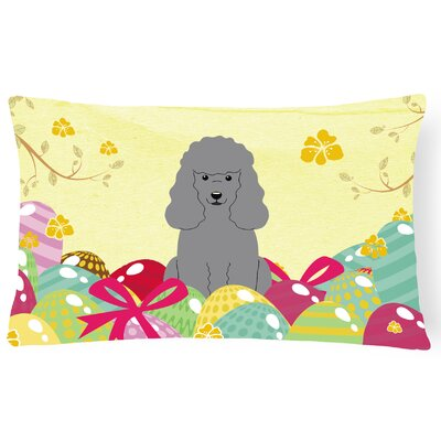 Easter Eggs Poodle Lumbar Pillow Pillow Cover Color: Silver