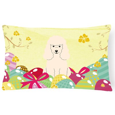 Easter Eggs Poodle Lumbar Pillow Pillow Cover Color: White