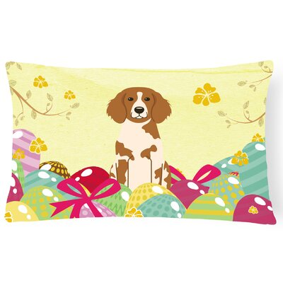 Easter Eggs Brittany Spaniel Lumbar Pillow
