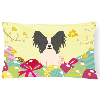 Easter Eggs Papillon Lumbar Pillow Pillow Cover Color: Black/White