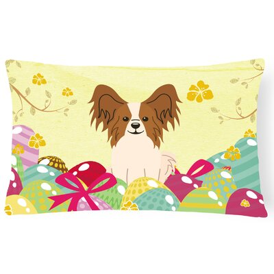 Easter Eggs Papillon Lumbar Pillow Pillow Cover Color: Brown/White