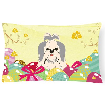 Easter Eggs Shih Tzu Lumbar Pillow Pillow Cover Color: Silver/White