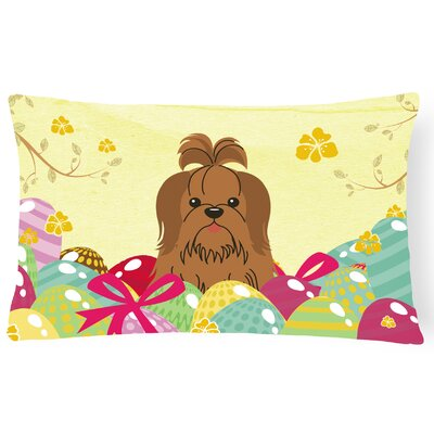 Easter Eggs Shih Tzu Lumbar Pillow Pillow Cover Color: Silver/Chocolate
