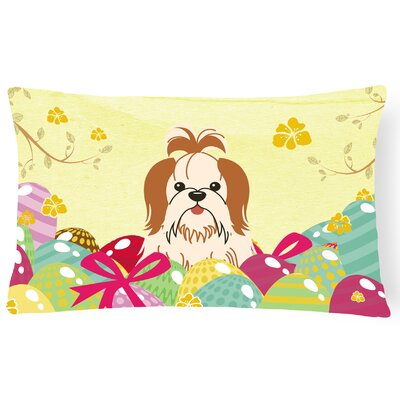 Easter Eggs Shih Tzu Lumbar Pillow Pillow Cover Color: Brown/White