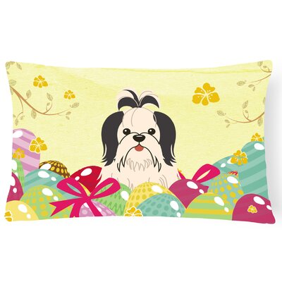 Easter Eggs Shih Tzu Lumbar Pillow Pillow Cover Color: Black/White