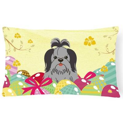 Easter Eggs Shih Tzu Lumbar Pillow Pillow Cover Color: Black/Silver